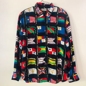 Vintage button up flag shirt
